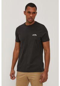 Czarny t-shirt Billabong na co dzień, z nadrukiem, casualowy
