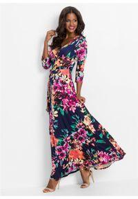 Niebieska sukienka bonprix maxi, w kwiaty, na lato