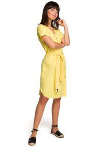 Żółta sukienka wizytowa MOE z krótkim rękawem, szmizjerki
