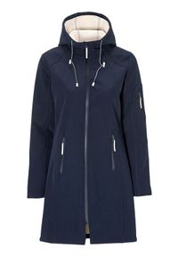 Niebieska kurtka Soyaconcept długa, w kolorowe wzory, z kontrastowym kołnierzykiem, elegancka