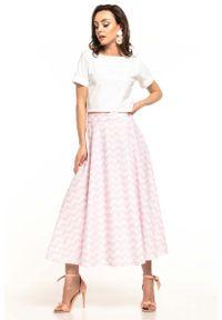 Tessita - Długa Spódnica z Koła w Różowy Zygzag. Kolor: różowy. Materiał: bawełna. Długość: długie. Wzór: kwiaty