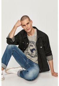Szary t-shirt Wrangler na co dzień, z nadrukiem