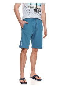TOP SECRET - Luźne szorty dresowe męskie. Kolor: niebieski. Materiał: dresówka. Sezon: lato