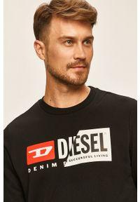 Czarna bluza nierozpinana Diesel z nadrukiem, bez kaptura, na co dzień, casualowa