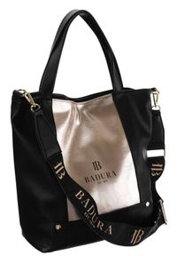Duża torebka czarno-złota Badura TD_204CZ/ZL_CD. Kolor: wielokolorowy, złoty, czarny. Materiał: skórzane. Rozmiar: duże