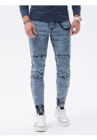 Ombre Clothing - Spodnie męskie jeansowe joggery P1056 - jasnoniebieskie - XXL. Kolor: niebieski. Materiał: jeans
