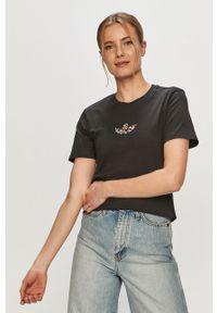 Czarna bluzka adidas Originals z nadrukiem, na co dzień, casualowa