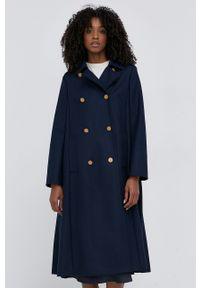 Red Valentino - Płaszcz wełniany. Okazja: na co dzień. Kolor: niebieski. Materiał: wełna. Styl: casual