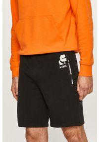 Czarne szorty Karl Lagerfeld z nadrukiem, klasyczne