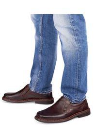 ESCOTT - Mokasyny męskie Escott 766 Brązowe. Zapięcie: bez zapięcia. Kolor: brązowy. Materiał: tworzywo sztuczne, skóra. Obcas: na obcasie. Styl: elegancki. Wysokość obcasa: średni