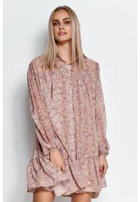Makadamia - Zwiewna Mini Sukienka we Wzory - Wzór 17. Materiał: poliester. Długość: mini