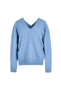 Niebieski sweter VEVA z dekoltem na plecach