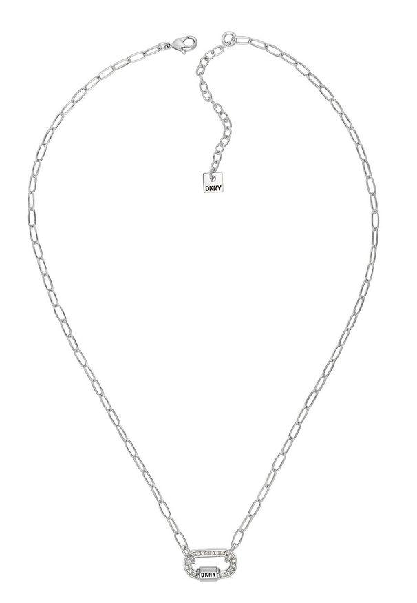 Srebrny naszyjnik DKNY z aplikacjami, z kryształem