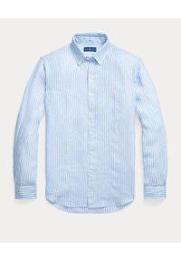 Ralph Lauren - RALPH LAUREN - Niebieska koszula z lnu Custom Fit. Typ kołnierza: polo. Kolor: niebieski. Materiał: len. Długość rękawa: długi rękaw. Długość: długie. Wzór: haft, prążki. Styl: klasyczny #5