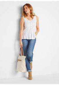 Top shirtowy z koronką bonprix biały. Kolor: biały. Materiał: koronka. Wzór: koronka. Sezon: lato
