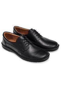 Czarne półbuty ESCOTT eleganckie, w kolorowe wzory