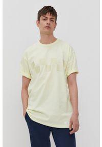 Vans - T-shirt. Okazja: na co dzień. Kolor: żółty. Wzór: nadruk. Styl: casual