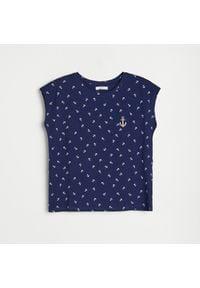 Reserved - Bawełniany t-shirt - Granatowy. Kolor: niebieski. Materiał: bawełna