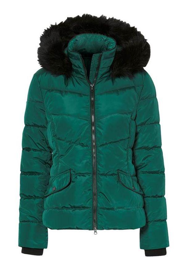 Cellbes Krótka, ocieplana kurtka ciemnozielony female zielony 62/64. Kolor: zielony. Materiał: futro. Długość: krótkie