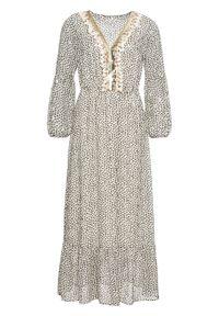Długa sukienka z nadrukiem i aplikacją bonprix kremowo-czarno-złocisty wzorzysty. Kolor: beżowy. Wzór: aplikacja, nadruk. Długość: maxi