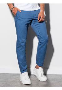 Ombre Clothing - Spodnie męskie chino P894 - niebieskie - XXL. Kolor: niebieski. Materiał: elastan, bawełna