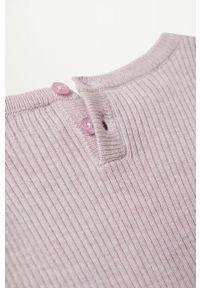 Fioletowy sweter Mango Kids gładki, na co dzień, casualowy