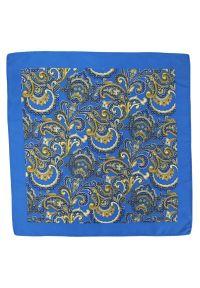 Chattier - Oryginalna Poszetka Męska CHATTIER - Orientalny Wzór, Niebiesko-Złota. Kolor: niebieski