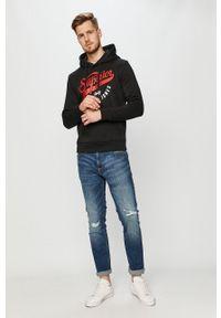 Czarna bluza nierozpinana Jack & Jones z kapturem, z nadrukiem
