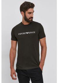 Emporio Armani - T-shirt bawełniany. Okazja: na co dzień. Kolor: zielony. Materiał: bawełna. Wzór: nadruk. Styl: casual