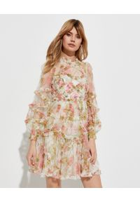 NEEDLE & THREAD - Sukienka mini Harlequin Rose Ruffle. Typ kołnierza: kołnierz z falbankami. Kolor: beżowy. Materiał: tiul, materiał. Wzór: aplikacja, nadruk. Długość: mini