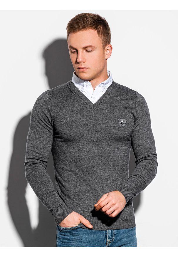 Szary sweter Ombre Clothing melanż, klasyczny, z dekoltem w serek