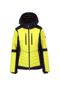 Descente - Kurtka narciarska DESCENTE CICILY. Kolor: żółty. Materiał: tkanina, puch, materiał. Technologia: Thinsulate. Wzór: jodełka. Sport: narciarstwo