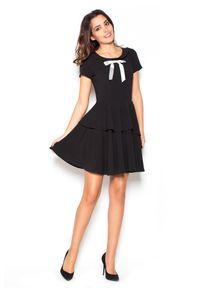 Czarna sukienka Katrus z kokardą