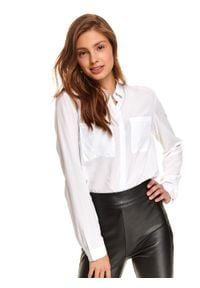 TOP SECRET - Biała koszula z naszywanymi kieszeniami. Okazja: do pracy. Kolor: biały. Długość: długie. Styl: elegancki