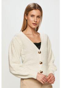 Biały sweter rozpinany TALLY WEIJL długi, z długim rękawem, gładki