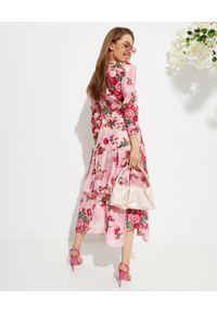 LOVE SHACK FANCY - Sukienka w kwiatowy wzór Salima. Kolor: różowy, wielokolorowy, fioletowy. Materiał: bawełna, jedwab. Wzór: kwiaty. Typ sukienki: asymetryczne, rozkloszowane