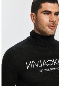 Czarny sweter Calvin Klein z aplikacjami, na co dzień, casualowy