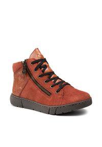 Rieker - Botki RIEKER - 52942-38VE Red. Kolor: brązowy. Materiał: skóra, zamsz. Szerokość cholewki: normalna. Sezon: zima, jesień