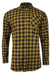 Just Yuppi - Żółto-Granatowa Weekendowa Męska Koszula, 100% BAWEŁNA -JUST YUPPI- Casualowa, w Kratkę KSDCJTYUP9612kol9miodowa. Okazja: na co dzień. Kolor: niebieski, złoty, wielokolorowy, żółty. Materiał: bawełna. Wzór: kratka. Styl: casual