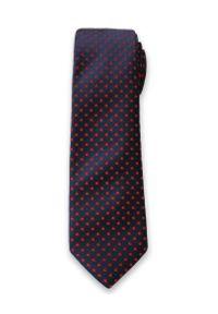 Oryginalny Krawat Męski w Czerwone Groszki, Kropki - 6cm- Alties, Granatowy. Kolor: niebieski. Materiał: tkanina. Wzór: grochy. Styl: wizytowy, klasyczny, elegancki