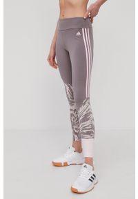 Adidas - adidas - Legginsy. Stan: podwyższony. Kolor: fioletowy. Materiał: dzianina