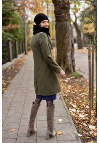 Marie Zélie - Płaszcz wełniany Debora ciemnozielony. Kolor: zielony. Materiał: wełna. Wzór: motyw zwierzęcy, ze splotem. Sezon: zima. Styl: klasyczny #5