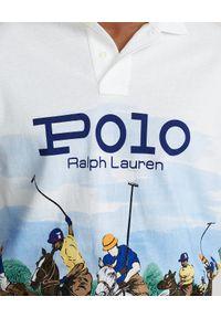 Ralph Lauren - RALPH LAUREN - Koszulka polo Custom Slim Fit Mesh. Typ kołnierza: polo. Kolor: biały. Materiał: mesh. Długość: długie. Wzór: ze splotem, nadruk. Styl: sportowy