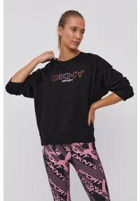 DKNY - Dkny - Bluza. Kolor: czarny. Długość rękawa: raglanowy rękaw. Wzór: nadruk