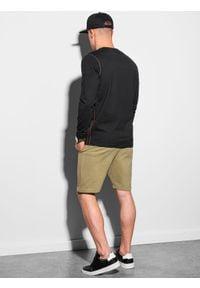 Ombre Clothing - Longsleeve męski z nadrukiem L130 - czarny - XXL. Kolor: czarny. Materiał: tkanina, bawełna. Długość rękawa: długi rękaw. Wzór: nadruk