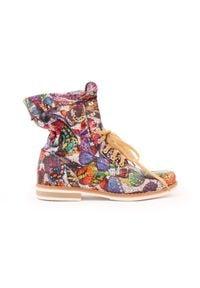 Zapato - sznurowane botki za kostkę - skóra naturalna - model 424 - kolor motyl. Okazja: na spacer. Wysokość cholewki: za kostkę. Materiał: skóra. Styl: sportowy