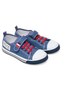 UNDERLINE - Trampki dziecięce Underline 95B1888 Niebieskie. Zapięcie: rzepy. Kolor: niebieski. Materiał: guma, tkanina, skóra
