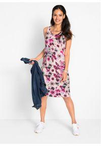 Sukienka z dżerseju (2 szt.) bonprix perłowy jasnoróżowy w kwiaty + oliwkowy. Kolor: różowy. Materiał: jersey. Wzór: kwiaty