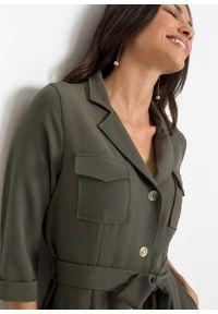 Sukienka szmizjerka bonprix khaki. Kolor: zielony. Typ sukienki: szmizjerki