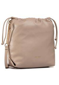 Beżowa torebka worek Jenny Fairy w geometryczne wzory, skórzana